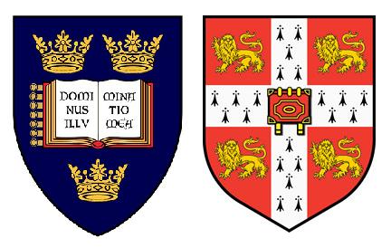 Escudos das universidades de Oxford e Cambridge. Fonte: The Happy Rower via Flickr.